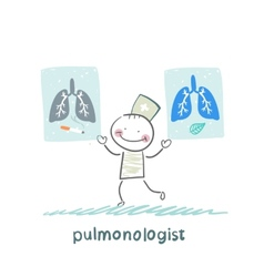 Pulmonologist with placards on which painted light vector