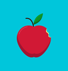 Red apple with a small bite vector