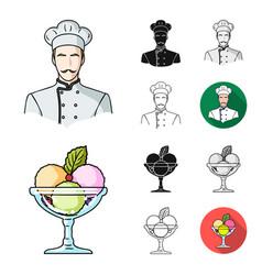 restaurant and bar cartoonblackflatmonochrome vector image