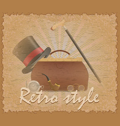 Retro style poster old valise and mens vector