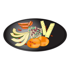 salad plate - healthy food organic vegetables vector image