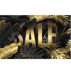sale banner with gold tropical leaves vector image
