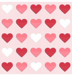 Seamless pattern with cute red and white hearts on vector image