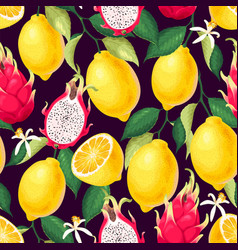 seamless pattern with lemon and dragon fruit vector image