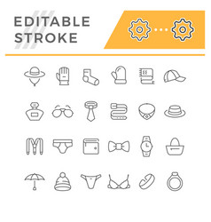 set line icons accessories vector image