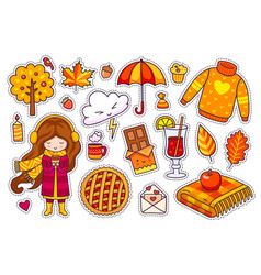 set of cute autumn stickers vector image