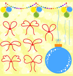 set of flat red bows and ropes to christmas vector image
