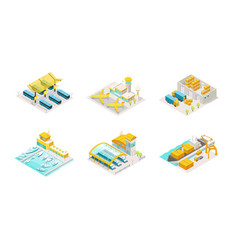 set of transportation isometric bus station vector image