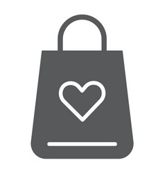 shopping bag glyph icon love and gift package vector image