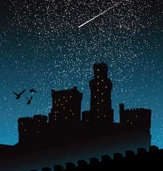 Silhouette castle under night sky vector
