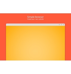 Simple browser window create website on red vector image