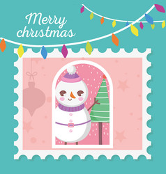snowman tree hanging lights merry christmas stamp vector image