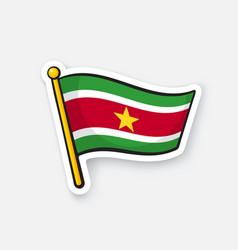 sticker national flag suriname on flagstaff vector image