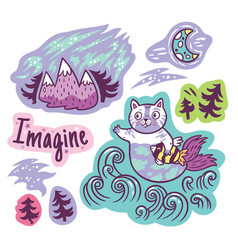 stickers with fantastic animals and phrases in vector image