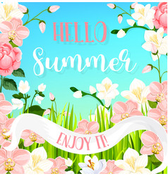 Summer blooming flowers greeting card vector