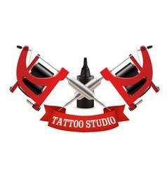 Tattoo studio label emblem logo template vector