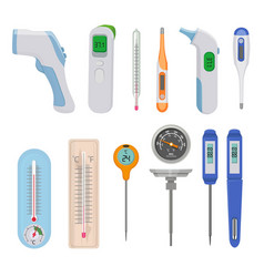 Thermometers difference hot and cold temperature vector