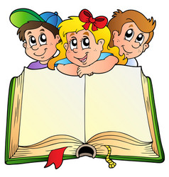 Three children with opened book vector