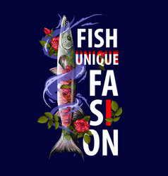 unique fashion print for clothers with fish vector image