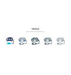 Vehicle icon in different style two colored and vector
