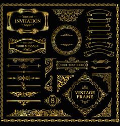 vintage gold decorative design elements set vector image