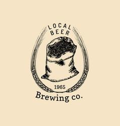 Vintage malt logo brewery herbs bag design vector