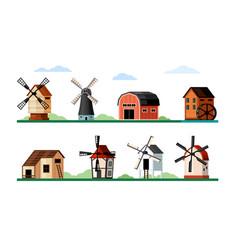 vintage windmills set wood and brick buildings vector image