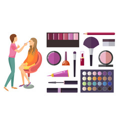 visage and makeup making beauty cosmetics vector image
