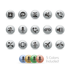 web and mobile icons 1 - metal round series vector image