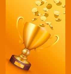 winner cup with flying gold coins vector image