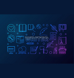 writer creative line horizontal vector image