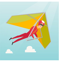 Young caucasian man flying on hang-glider vector