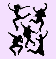 young dancers silhouette vector image