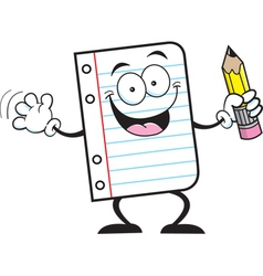 Cartoon Notebook Paper Holding a Pencil vector image vector image