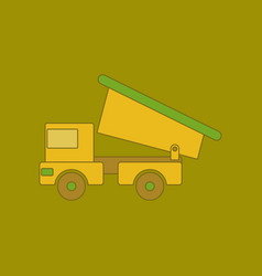 Flat icon on background kids toy truck vector