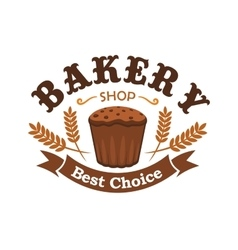 Fresh baked rye bread icon for bakery shop emblem vector