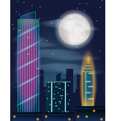 night in the city buildings full moon and stars vector image
