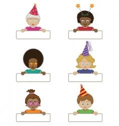 party children holding name tags vector image vector image