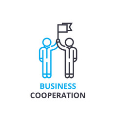 business cooperation concept outline icon vector image vector image