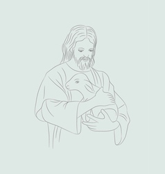 Jesus with sheep vector image