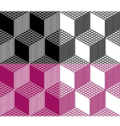monochrome seamless 3d cube pattern vector image vector image