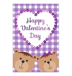 Valentines Day background with teddy bears hearts vector image vector image