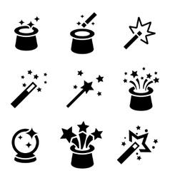 black magic icons set vector image