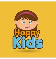 cartoon girl happy kids smile vector image