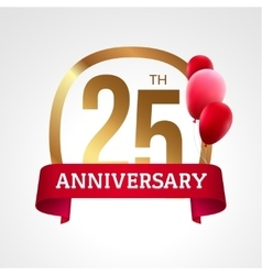 Celebrating 25th years anniversary golden label vector image