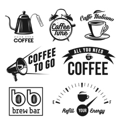 Coffee related labels badges and design elements vector image vector image