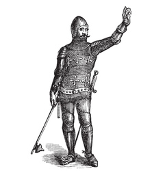 French soldier in armor in 1370 old engraving vector