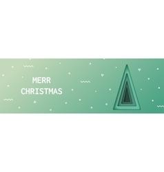 Green Christmas tree made of paper original vector image