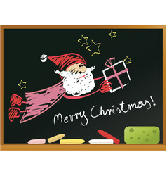 school blackboard with santa claus vector image vector image