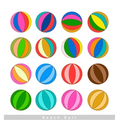 Set of Beach Balls on White Background vector image vector image